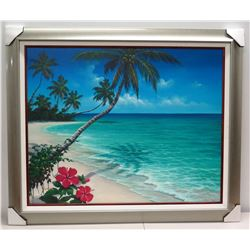 """""""Hibiscus in Bloom"""" by Romme, Giclee on Canvas 48"""" x 40"""", Silver Frame w/ White Linen Liner & Wood F"""