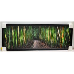 Bamboo Dance  by Randy J. Braun, Photographic Image on Canvas 62 1/4  x 23 3/4 , Black Beaded Frame