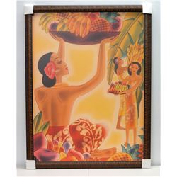 """The Hawaiian Abundance"" by Frank MacIntosh, Framed Giclee on Canvas, image from circa 1930s menu co"
