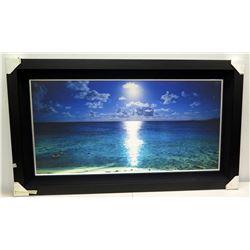 Kualoa Moonrise  by Cameron Brooks, Photographic Image on Canvas, Black Frame