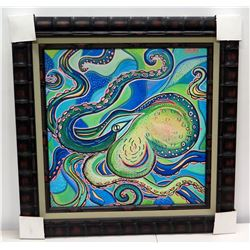 Blue Octopus  by Danielle Groff, Giclee on Canvas 32 1/2  x 32 1/2 , Bamboo Frame (Black)