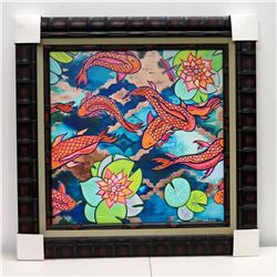 Koi Pond  by Danielle Groff, Giclee on Canvas 32 1/2  x 32 1/2 , Bamboo Frame (Black)