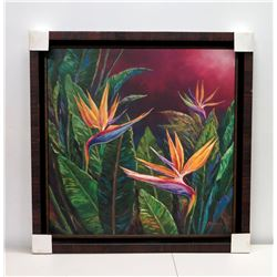 """""""Exquisite Blossoms"""" by Tiamson, Giclee on Canvas, Framed 41"""" x 41"""""""