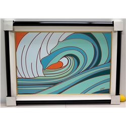 """Tavarua"" by Odi, Giclee on Canvas 47 7/8"" x 31 3/4"", Black Lacquer Deluxe Frame"
