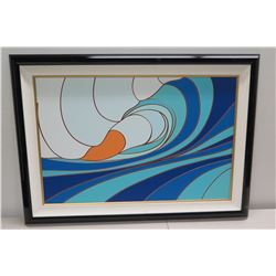 """Tavarua"" by Odi, Giclee on Canvas 43 7/8"" x 31 3/4"", Black Lacquer Frame"