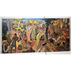 Large 96  x 48   Island Feast  by Eugene Savage, Giclee on Canvas, Frameless