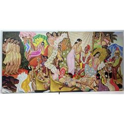 "Large 96"" x 48"" ""Aloha, Universal Word"" by Eugene Savage, Giclee on Canvas, Frameless"