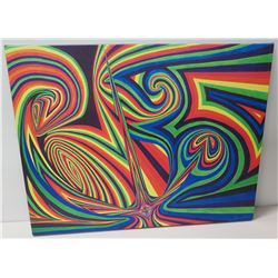 """Multi-Colored Abstract Painting on Canvas, by Blaise Domino, Artist Signed, Unframed 36"""" x 28"""""""