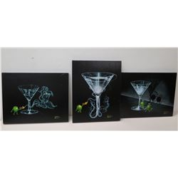 """Qty 3 Black Martini on Canvas Signed by Artist Goddard approx 22"""" H"""