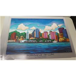 "Qty 5 Unframed Prints: Honolulu Skyline by Fred Peters 36"" x 26"""