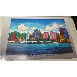 "Qty 5 Unframed Prints: Honolulu Skyline by Fred Peters 36"" x 26"""