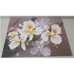 "Qty 5 Unframed Prints: White & Yellow Orchids 24"" x 18"""