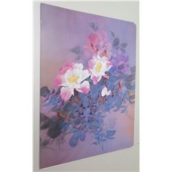 "Qty 4 Unframed Prints: Pink & Purple Flowers 20"" x 24"""