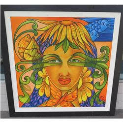 """Giglee on Canvas by Luis Molina, Framed, 44""""x44"""" (just added to auction Dec. 1)"""