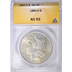 1880-O MORGAN DOLLAR ANACS AU-53