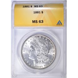 1881 MORGAN DOLLAR ANACS MS-63