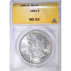 1884 MORGAN DOLLAR ANACS MS-62