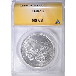1885-O MORGAN DOLLAR ANACS MS-63