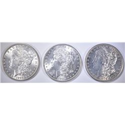 3-MORGAN DOLLARS, UNC