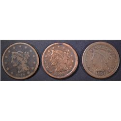 1842, 1848 & 1850 LARGE CENTS