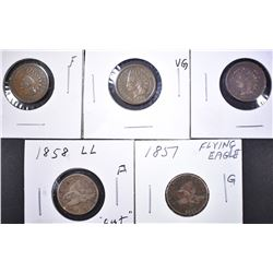 EARLY FLYING EAGLE, INDIAN CENT LOT: