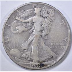 1938-D WALKING LIBERTY HALF DOLLAR  F