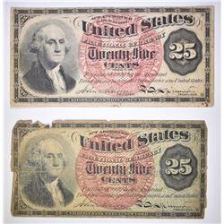 (2) 1863 FRIEDBERG TWENTY FIVE CENT FRACTIONAL CUR