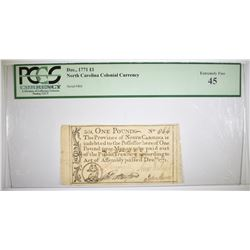 1771 1 POUND COLONIAL CURRENCY PCGS XF-45