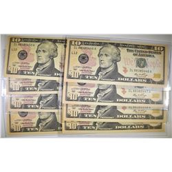 LOT OF 8  2006 $10 FEDERAL RESERVE NOTES