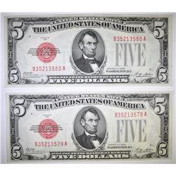 2 -1928 $5 U.S. NOTES