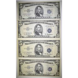 4 1953-A $5 STAR NOTE SILVER CERTIFICATES