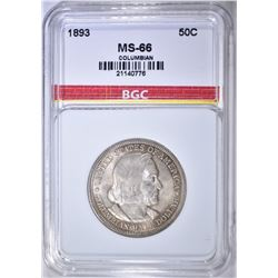 1893 COLUMBIAN HALF DOLLAR BGC SUPERB GEM