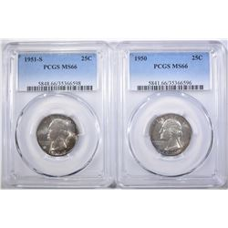 2 PCGS MS-66 WASHINGTON QUARTERS