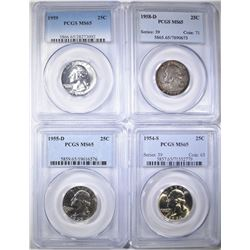 4 PCGS MS-65 WASHINGTON QUARTERS: