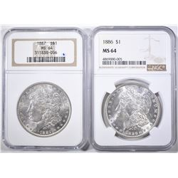 1886 & 1887 NGC MS-64 MORGAN DOLLARS