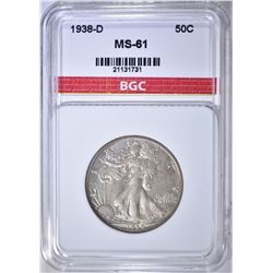 1938-D WALKING LIBERTY HALF DOLLAR BGC BU