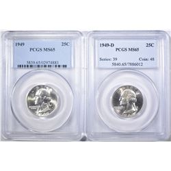 1949 & 1949-D PCGS MS-65 WASHINGTON QUARTERS