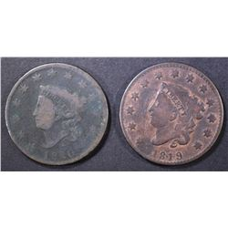 LOT OF 2 LARGE CENTS: