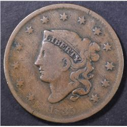 1835 LARGE CENT SMALL 8 & STARS VG