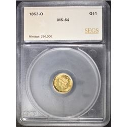 1853-O $1 GOLD  LIBERTY DOLLAR  SEGS CH/GEM BU