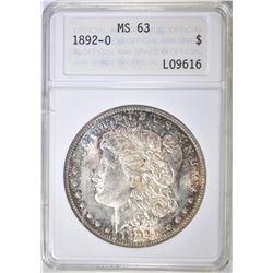 1892-O MORGAN DOLLAR, ANA CH BU