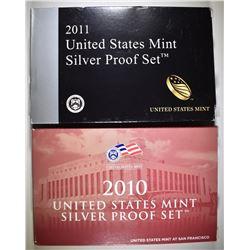 2010 & 2011 U.S. SILVER PROOF SETS ORIG PACKAGING