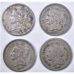 4 3-CENT NICKELS