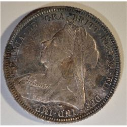 1893 VICTORIA HEAD SHILLING GEM BU TONED