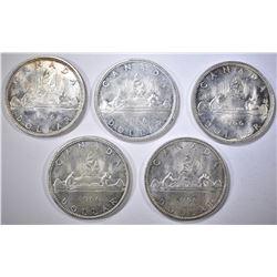 5-1966 BU CANADIAN SILVER DOLLARS
