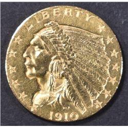 1910 $2.5 GOLD INDIAN  CH BU