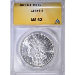 1878-S MORGAN DOLLAR ANACS MS-62