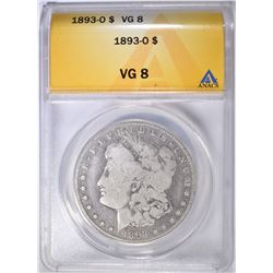 1893-O MORGAN DOLLAR ANACS VG-8