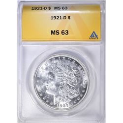 1921-D MORGAN DOLLAR ANACS MS-63