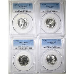 4-1976-S SILVER WASHINGTON QTRS, PCGS MS-67